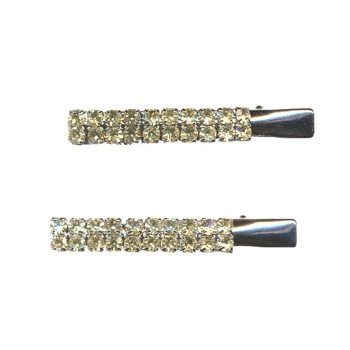Karen Marie - Austrian Crystal Jeweled Bar Clips - Citrine - 2 Clips
