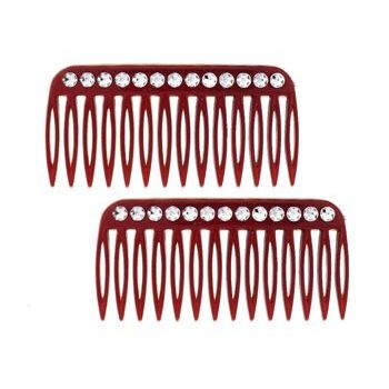 HB HairJewels - Lucy Collection - Faux Crystal Petite Side Combs - Tort (Set of 2)