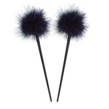 HB HairJewels - Lucy Collection - Feather Hairstick - Black (Set of 2)