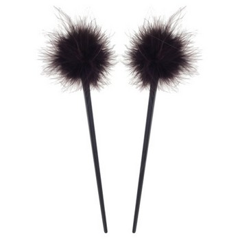 HB HairJewels - Lucy Collection - Feather Hairstick - Chocolate (Set of 2)