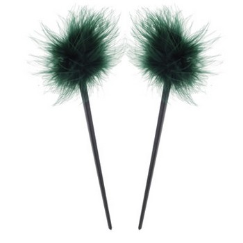 HB HairJewels - Lucy Collection - Feather Hairstick - Emerald (Set of 2)