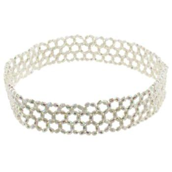 HB HairJewels - Lucy Collection - Faux Glass Beaded Stretch Headband - Pearl White (1)