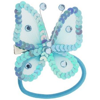 HB HairJewels - Hip Clips - Sequin Butterfly Pony Elastic & Clip - Baby Blue (1)