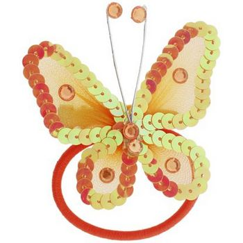 HB HairJewels - Hip Clips - Sequin Butterfly Pony Elastic & Clip - Tangerine (1)