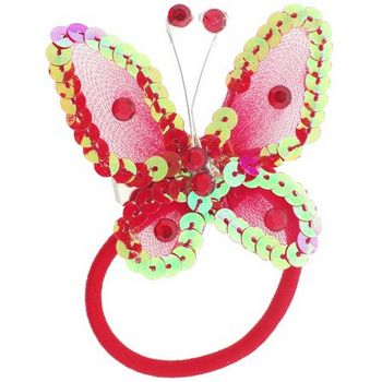 HB HairJewels - Hip Clips - Sequin Butterfly Pony Elastic & Clip - Cherry Red (1)