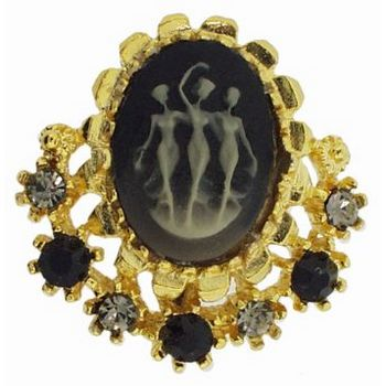 Alex and Ani - Black Cameo w/ Crystals Brooch in Gold Metal (1)