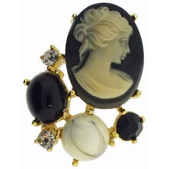 Alex and Ani - Vintage Inspired Cameo Brooch w/Stones & Crystals - Black (1)