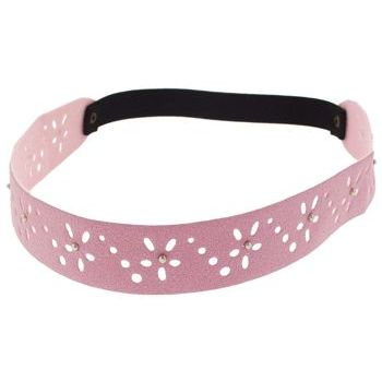 HB HairJewels - Lucy Collection - Faux Suede Studded Daisy Bandeau - Pink (1)