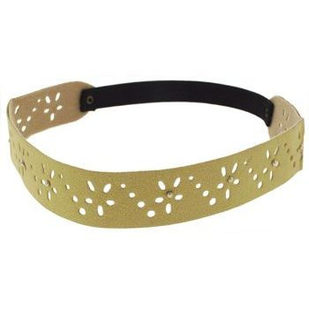 HB HairJewels - Lucy Collection - Faux Suede Studded Daisy Bandeau - Natural (1)