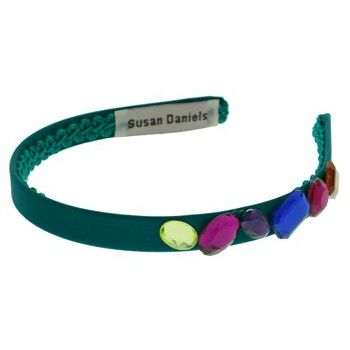 Susan Daniels - Headband - Teal Silk w/Assorted Jewels (1)