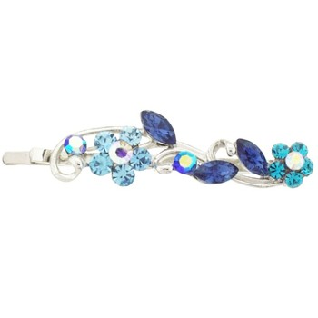 Karen Marie - Crystal Flower Bouquet Bobby Pin - Blue (1)