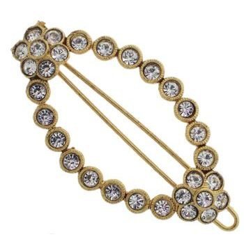 Linda Levinson - Oval Brooch Hairclip - Gold w/White Diamond Crystals (1)