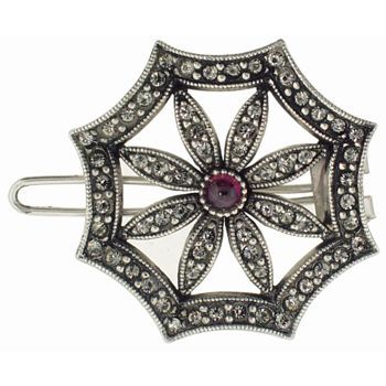 Linda Levinson - Brooch Hairclip - Silver w/Garnet Center & Black Diamond Swarovski Crystals (1)