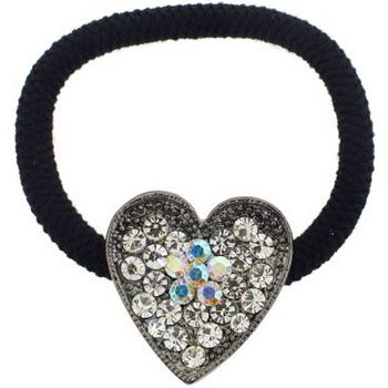 Karen Marie - Crystal Heart Pendant Pony Elastic - White Diamond (1)