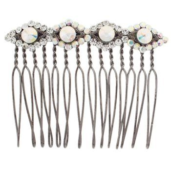 Karen Marie - Diamond Cut Wire Tooth Crystal Comb - White (1)