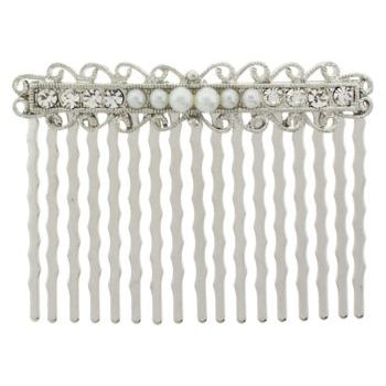 Karen Marie - Bridal Collection - Filigree w/Crystals & Pearls Comb