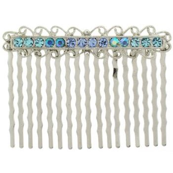 Karen Marie - Antique Crystal Comb - Blue (1)