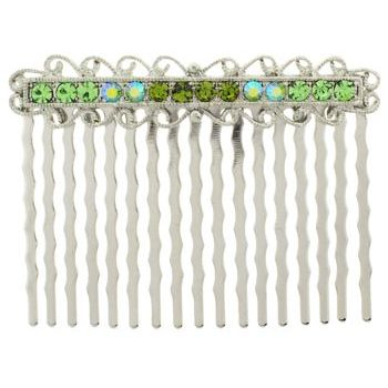 Karen Marie - Antique Crystal Comb - Peridot (1)