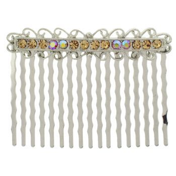 Karen Marie - Antique Crystal Comb - Amber (1)