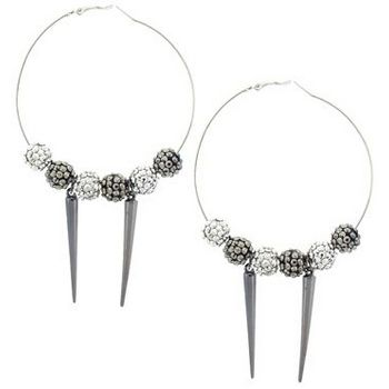 SOHO BEAT - Crystal Avenue - Basketball Wife Earrings  - Silver & Pewter