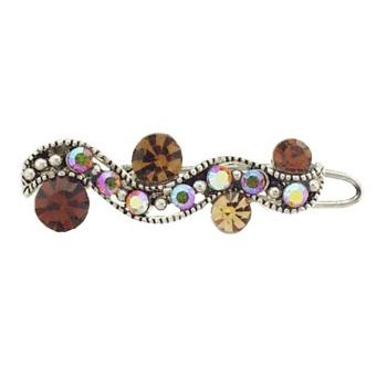 Karen Marie - Mini Crystal Filigree Barrette - Topaz (1)