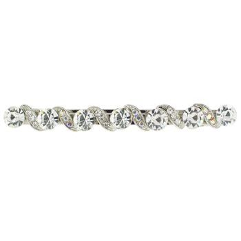 Karen Marie - Large Gem Barrette w/Filigree Wave - White Diamond (1)