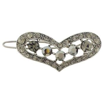 Karen Marie - Crystal Heart Barrette - Smoke (1)