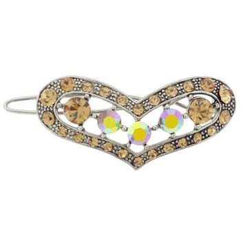 Karen Marie - Crystal Heart Barrette - Golden Topaz (1)