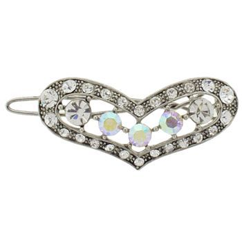 Karen Marie - Crystal Heart Barrette - White (1)