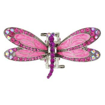 Karen Marie - Enamel & Crystal Encrusted Dragonfly Jaw - Rose (1)