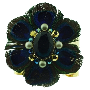 Lily Posh - Gold Plated Cuff w/Peacock Feather - Emerald (1)