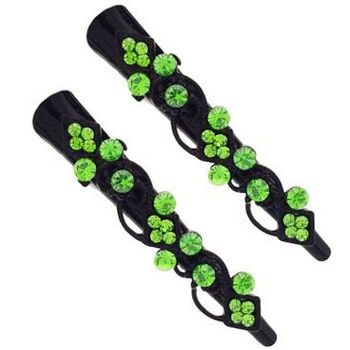 Karen Marie - Mini Crystal Art Deco Condor Clip - Peridot/Black (set of 2)