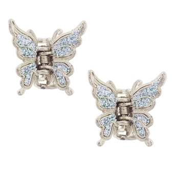 Karen Marie - Small Butterfly Glitter Claw - Iridescent Blue (Set of 2)