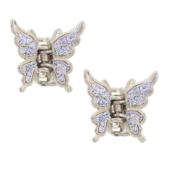 Karen Marie - Small Butterfly Glitter Claw - Iridescent Lavender (Set of 2)