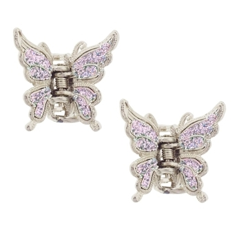 Karen Marie - Small Butterfly Glitter Claw - Iridescent Rose (Set of 2)