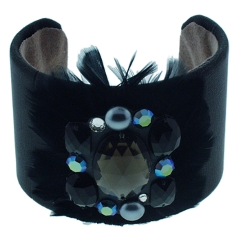 Lily Posh - Leather Cuff w/Large Gem & Feathers - Black (1)