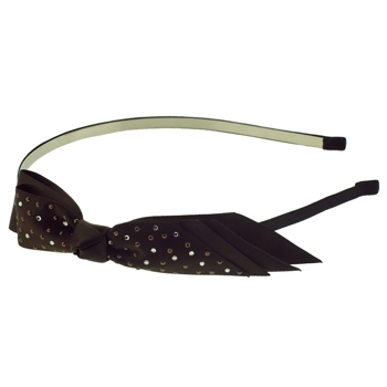 Juko - Crystal Encrusted Knotted Bow Headband - Brown (1)