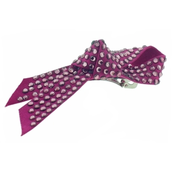 Juko - Crystal Covered Looped Bow Barrette - Bright Pink (1)