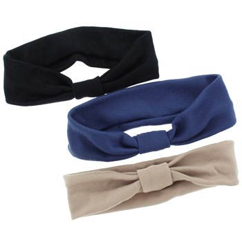 Karina - Stretch Headwraps - 3pc (Blue, Black, Tan)