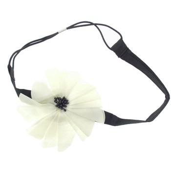 Karina - Ivory Flower Headwrap - Black