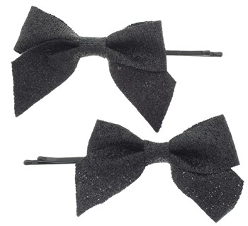 Karina - Bow Glitter Effect Bobby Pins - Black