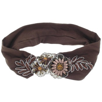 Karina - Embroidery Headwrap - Brown