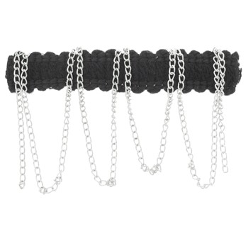 Karina - Dangling Silver Chains Barrette - Black (1)