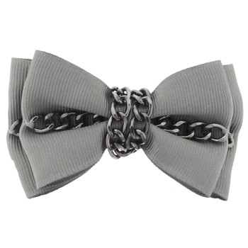 Karina - Bow & Chain Barrette - Gray (1)