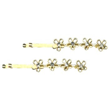 Karina - Gold Flowers w/Crystal Bobby Pins (1) - All Sales Final