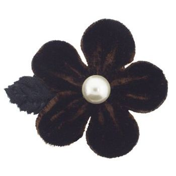 Karin's Garden - Velvet Petal Flower w/Pearl Center Clip - Chocolate (1)
