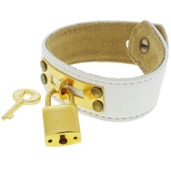 Karen Marie - Leather Cuff Bracelet - White with Heart Gold Padlock/Key
