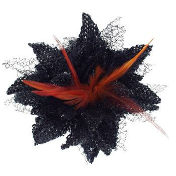Karen Marie - Le Fleur Collection - Wool Flower w/Peacock Feathers - Black (1)