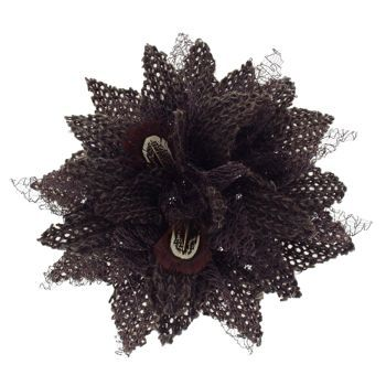 Karen Marie - Le Fleur Collection - Wool Flower w/Peacock Feathers - Dark Chocolate  (1)
