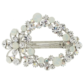 Karen Marie - Crystal Daisy Wreath Barrette -  Moonstone & White Diamond(1)